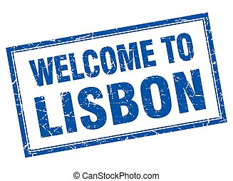 Lisbon blue square grunge welcome isolated stamp