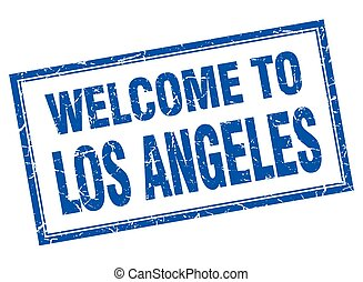 Los Angeles blue square grunge welcome isolated stamp