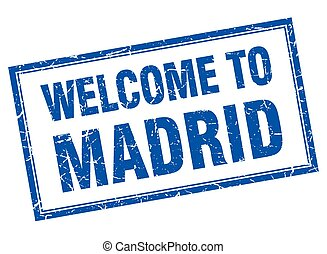 Madrid blue square grunge welcome isolated stamp