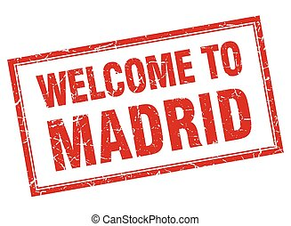 Madrid red square grunge welcome isolated stamp