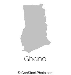 Map of the country of Ghana - A Map of the country of Ghana