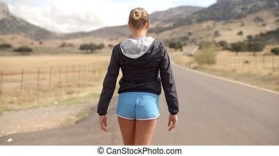 Back Angle of Sporty Girl on the Road in Mountains, Slow...