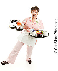Waitress - Balancing Act - Overworked waitress tries to keep...
