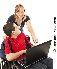 Disabled Teen and Friend on Computer