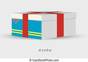 Gift Box with the flag of Aruba - A Gift Box with the flag...