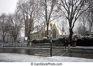 St Marys Church, Lambeth, England - St Marys church, and the...