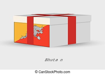 Gift Box with the flag of Bhutan - A Gift Box with the flag...