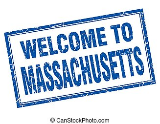 Massachusetts blue square grunge welcome isolated stamp
