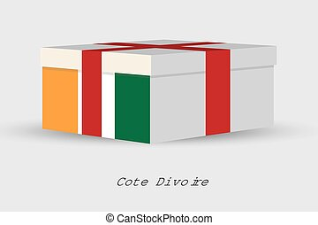 Gift Box with the flag of Cote DIvoire - A Gift Box with the...