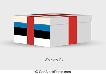 Gift Box with the flag of Estonia - A Gift Box with the flag...