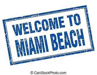 Miami Beach blue square grunge welcome isolated stamp