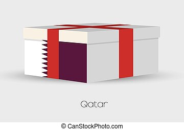 Gift Box with the flag of Qatar - A Gift Box with the flag...