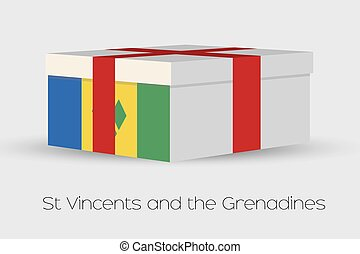 Gift Box with the flag of Saint Vincents and the Grenadines...