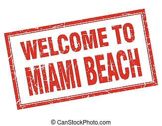 Miami Beach red square grunge welcome isolated stamp