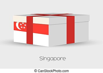 Gift Box with the flag of Singapore