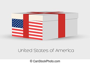 Gift Box with the flag of United States of America