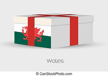 Gift Box with the flag of Wales - A Gift Box with the flag...