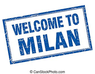 Milan blue square grunge welcome isolated stamp