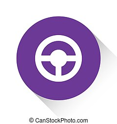 Purple Icon Isolated on a White Background - Steering Wheel