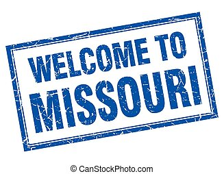 Missouri blue square grunge welcome isolated stamp