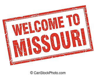 Missouri red square grunge welcome isolated stamp
