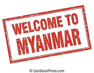 Myanmar red square grunge welcome isolated stamp
