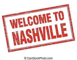 Nashville red square grunge welcome isolated stamp