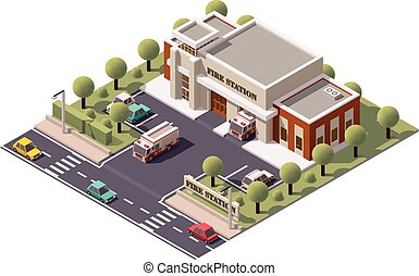 Vector isometric fire station - Vector isometric fire...