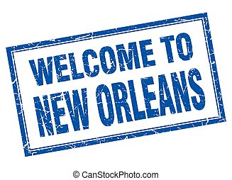 New Orleans blue square grunge welcome isolated stamp