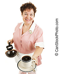 Waitress Serves Your Coffee - Friendly waitress serving a...