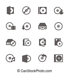 CD Icons - Simple Set of Compact Disk Related Vector Icons...