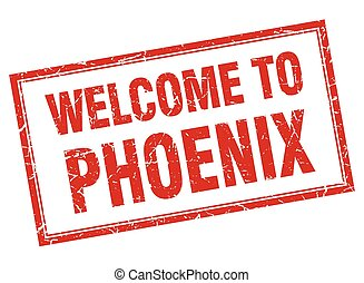 Phoenix red square grunge welcome isolated stamp