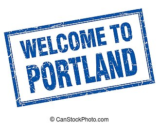 Portland blue square grunge welcome isolated stamp