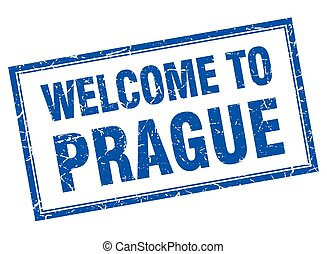 Prague blue square grunge welcome isolated stamp