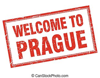 Prague red square grunge welcome isolated stamp