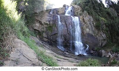 waterfall in deep forest of Nepal Annaperna track