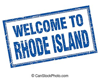 Rhode Island blue square grunge welcome isolated stamp