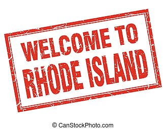 Rhode Island red square grunge welcome isolated stamp