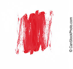 red paint brush texture on white background