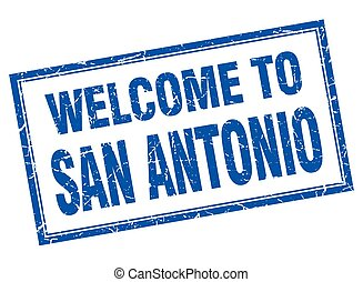San Antonio blue square grunge welcome isolated stamp