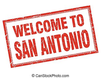 San Antonio red square grunge welcome isolated stamp