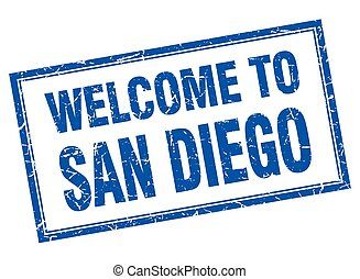 San Diego blue square grunge welcome isolated stamp