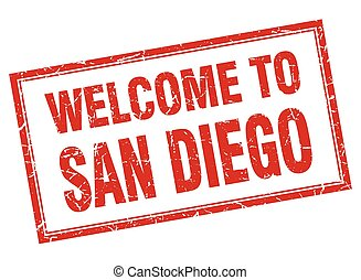 San Diego red square grunge welcome isolated stamp