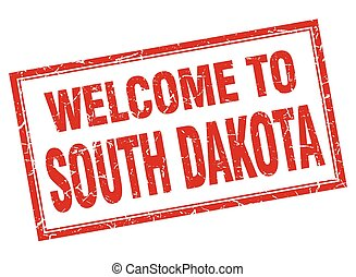 South Dakota red square grunge welcome isolated stamp