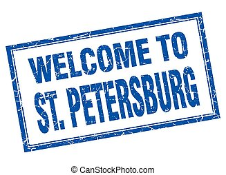 St Petersburg blue square grunge welcome isolated stamp