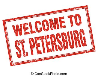 St Petersburg red square grunge welcome isolated stamp