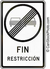 End Of No Overtaking - Chilean traffic sign: End of no...