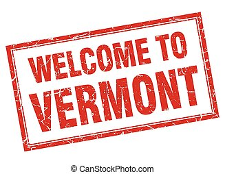 Vermont red square grunge welcome isolated stamp