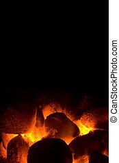carbón, fuego, barbacoa