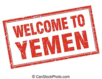 Yemen red square grunge welcome isolated stamp
